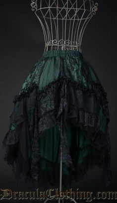 Green Ruffle Skirt #skirt #lace #victorian #goth #gothic http://draculaclothing.com/index.php/green-ruffle-skirt.html