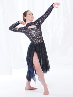 """Navy Blue Floral Sequined Leotard with Keyhole Designs in Front and Back and Glitter Asymmetrical Skirt - """"I Know You"""""""