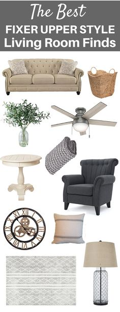 Fixer Upper Style Living Room Finds | Farmhouse Living Room Ideas | Living Room Furniture | Fixer Upper Inspired | Amazon Finds