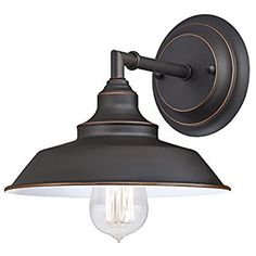 Amazon.com: Westinghouse 6343500 Iron Hill One-Light Indoor Wall Fixture, Oil Rubbed Bronze Finish with Highlights and Metal Shade: Home Improvement