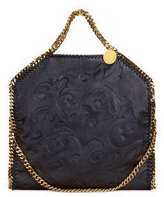 Falabella doppio manico in stampa floreale nera e catena gold