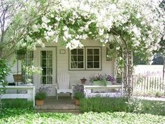 Cottage Porch with Cape Cod Foldable Adirondack Chair, exterior brick floors, French doors, Screened porch, Cottage garden Cottage Porch, Garden Cottage, White Cottage, Cottage Living, Cozy Cottage, Cottage Homes, Cottage Style, Home And Garden, House Porch