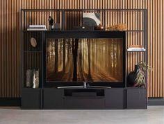 Tv-meubel Toby Een modern TV wandmeubel Uitgebreide ruimtelijke wandkast. Toby is een wandkast geschikt voor de TV, gemaakt van MDF melamine fineer in een zwarte finish in combinatie met zwart metalen staanders. De deuren zijn voorzien van een klepdeur. Deze kast heeft een gewicht van 62 kg. En het maximale draaggewicht per draagplank is 15 kg. Bezorging (gratis brengen vanaf €100 en achteraf betalen) Heb je het tv-meubel Toby online besteld? Dan sturen we je direct een orderbevestiging. We bezo Black Metal, Green Accents, Entryway, Curtains, Living Room, Furniture, Home Decor, Kabinet, Plads