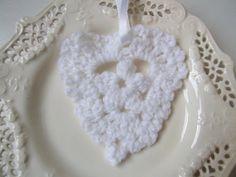 white crochet heart