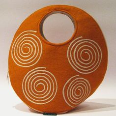 Orange Spirals Felt Bag