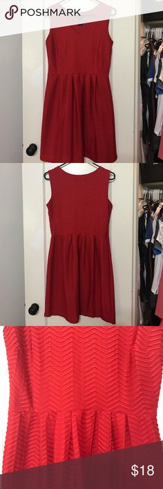 Enfocus Design Red Dress Chevron pattern. Pleated at the waist for flattering fit Enfocus Design Dresses