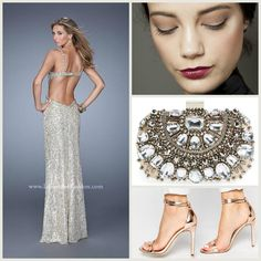 La Femme 21036 long gold dress - prom dress - homecoming dress - formal dress - bridesmaids dress - pageant dress - sweetheart neckline - strapless - open back - beaded- lace - sequined - style inspiration - makeup inspiration - heels - jeweled clutch- glamorous