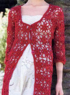 Ganchillo suéter: Cardigan - Crochet Patrón Cardigan - Elegante