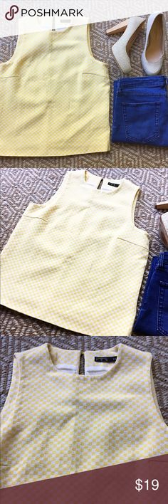 Zara Yellow Check Sleeveless Shell This piece is so fun! Thick shell with a cute yellow checkered pattern. Perfect item to pair with dark denim and heels! Zara Tops Tank Tops