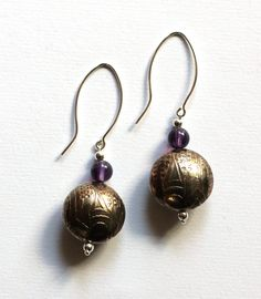 Earrings, Nickel Silver Etched Domed Beads with Amethyst beads,Sterling Silver Beads & ear wires