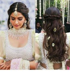 Top bridal hairstyles goals from real life brides to slay in. Explore the list of best wedding hairstyle for long and short hair, bridal hair Short Bridal Hair, Bridal Hairstyle Indian Wedding, Long Hair Wedding Styles, Indian Bridal Hairstyles, Wedding Hairstyles For Long Hair, Wedding Hair Pieces, Indian Bride Hair, Bridal Bun, Hairdo Wedding