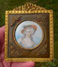 Rare Antique  French GILT Ormolu Miniature Portrait Hand Painted Signed