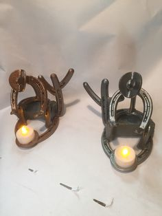 Horseshoe cowboy cactus candle holder metal art