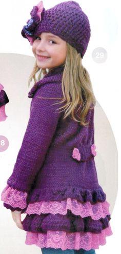 Пальто и шапочка для девочки крючком