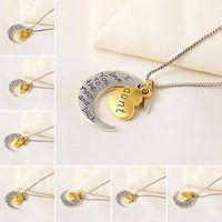 New Design Fashion Vintage Heart Moon Necklace jewelry Pendants Letter Friendly letters Chain Statement Necklace women 2015 PD23