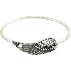 Inspirational Wing Fold Over Bracelet in Silver ($15) ❤ liked on Polyvore featuring jewelry, bracelets, stackers jewelry, stacking bangles, silver jewellery, silver jewelry and silver bangles