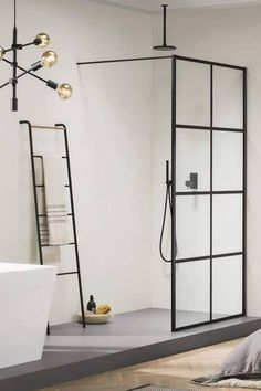 Black frames in the bathroom give a clean, minimalist and style.◼ Our stunning Harbour Status shower enclosure has a cutting-edge design and will make the perfect statement in your bathroom. 👏🏻 - #bathroomdesign #bathroomdecor #bathroomrenovation