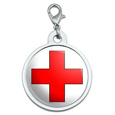 Red Cross Large Chrome Plated Metal Pet Dog Cat ID Tag -- You can get more details by clicking on the image.