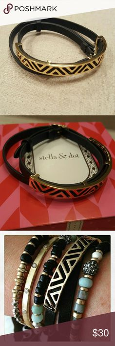 Stella and Dot Ally Double Wrap Bracelet Shiny gold-plated malleable brass cuff with geometric detail atop a genuine leather double wrap band. Looks super chic alone or paired with your favorite cuffs and bangles. Fits SM-LG wrists.  Only worn a few times. Great condition. Stella & Dot Jewelry Bracelets