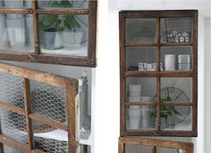 old windows into cabinet doors ~ awesome for my potting table / shed i like the idea of using chicken wire to replace broken window panes Old Windows, Vintage Windows, Windows And Doors, Old Doors, Cabinet Doors, Wall Cabinets, Home Projects, Rustic Decor, Home Kitchens