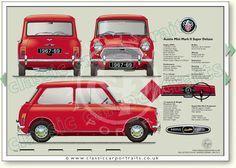 Mini Cooper Classic, Classic Mini, Classic European Cars, Classic Cars, Retro Cars, Vintage Cars, Mini Morris, Car Prints, Mini Copper