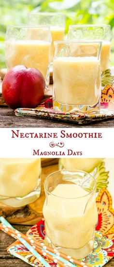 Nectarine Smoothie made with fresh fruit yogurt milk and honey. It's cool creamy and has a delicate flavor. Fruit Smoothie Recipes, Yogurt Smoothies, Protein Shake Recipes, Apple Smoothies, Easy Smoothies, Smoothie Drinks, Juice Smoothie, Vitamix Juice, Protein Smoothies