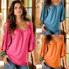 Women Fashion Casual Off Shoulder Top Jumper Pullover O Neck Tee T-Shirt Blouses