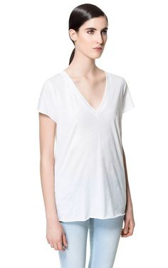 V-NECK T-SHIRT - Woman - New this week - ZARA United States