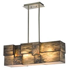 Pauline Chandelier: artfully illuminate your dining room or foyer with this lovely piece, showcasing a cubist design and brushed nickel-finished hardware. Color: brushed nickel, brown & dusk sky