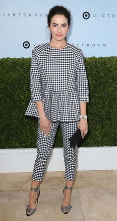 Camilla Belle wears gingham peplum top and trousers for the Victoria Beckham x Target event