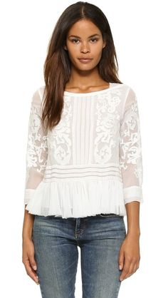 Shop for Rebecca Taylor Pop Paisley Top at ShopStyle. Rebecca Taylor, White Tops, Ideias Fashion, Paisley, Style Inspiration, My Style, Womens Fashion, Fashion Fashion, How To Wear