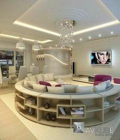 Nice idea to add shelves within a circular sofa.