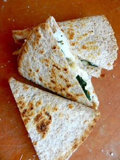 Goat Cheese Quesadillas ~ with chicken & spinach