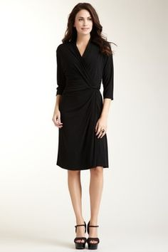 3/4 Sleeve V-Neck Faux Wrap Dress - Great for work
