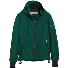 Burberry lightweight Jacket ($748) ❤ liked on Polyvore featuring men's fashion, men's clothing, men's outerwear, men's jackets, green, burberry mens jacket, mens hooded jackets, mens green jacket, mens light weight jackets and mens leather sleeve jacket