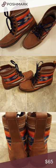 Anthropologie 2568 Samosa Boots Like New, only the bottoms of shoes show wear, otherwise in perfect condition, no scuffs. Lace up boots with navy laces. Beautiful brown leather with canvas sides. From Anthropologie. Does not come with original box. Anthropologie Shoes