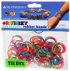 Undee Bandz Rubbzy 100 RAINBOW Tie-Dye Rubber Bands with Clips [C]