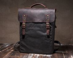 Waxed canvas bag  mens backpack  waxed backpack  wax by Tram21