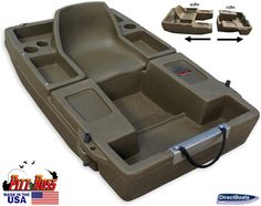 Check out the Pitt Boss DLX Mini Bass Boat! Troll row or use flippers with this two part portable single person mini fishing boat. The Pitt Boss is designed for one person to quickly and easily access and comfortably fish, float, and hunt ponds, strip pits, rivers, lakes and streams. The boat is two parts that are modular in design. For more information or to order, visit this items official page on DirectBoats.com. http://directboats.com/pittboss.html
