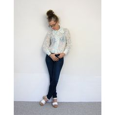 Sheer Floral 70s Blouse White Blue Long Sleeve Shirt See Through... ($34) via Polyvore featuring tops, blouses, long sleeve blouse, floral shirt, sheer floral blouse, evening blouses and sheer long sleeve top