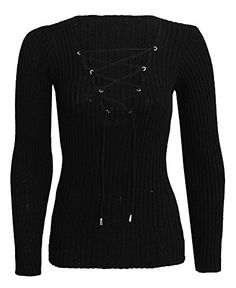 Home of Fashion Deep V Neck Lace Tie Up Ribbed Soft Knitted Jumper (SM (8-10), Black) The Home of Fashion http://www.amazon.co.uk/dp/B0179Y52K2/ref=cm_sw_r_pi_dp_iCnrwb1B14A3T