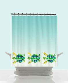 Swimming Sea Turtles Shower Curtain - Baby turtles - cute  Watercolor Art, coastal, Surf, beach, surfer, blue, teen decor, ombre bathroom