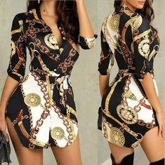 2019 Women Hot Sale Casual Chain Printed Belt Button Blouse Streetwear Turn-Down Collar Sexy Nightclub Asymmetrical Long Shirt - Hot Products Bohemian Pants, Half Sleeve Shirts, African Dashiki, Dress Sash, Mini Vestidos, Collar Styles, One Piece Dress, Cheap Dresses, Dresses Art