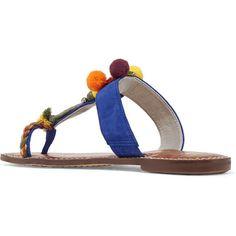 Sam Edelman Gemina embellished suede sandals (365 BRL) via Polyvore featuring shoes, sandals, suede slip on shoes, crocs shoes, slip on sandals, blue slip on shoes e slip on shoes