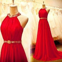 Oro Rojo de Gasa Noche Vestidos Vestidos de Fiesta Talla Plus 0 2 4 6 8 10 A La Venta | eBay