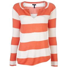 Splendid Rugby Stripe Sweater (485 BRL) ❤ liked on Polyvore featuring tops, sweaters, shirts, blusas, long sleeves, v neck sweater, shirt sweater, red shirt, red v neck shirt and long sleeve sweater