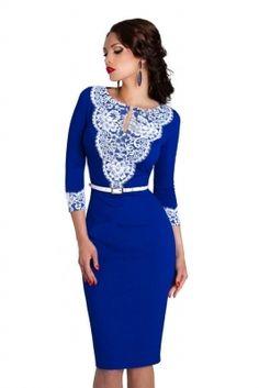Стильное синее платье футляр 147 - 2896135