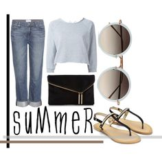 Some Blam by revinaangela on Polyvore featuring Gaëlle Bonheur, Paige Denim, Henri Bendel, Linda Farrow, readyforsummer, summersandals and ReadyForVacation