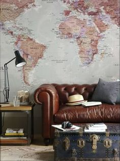 21 Ways to Make the Industrial Look Work for You including brick veneer, pallet coffee tables and map walls