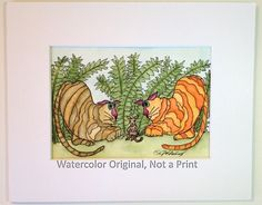 Cats, Painting of Cats, Watercolor, 5x7, Whimsical, Two Fat Cats, Ferns & Playful Mouse, Browns and Oranges, Cats #8, 8x10 Mat, NOT A PRINT